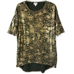 XXS LulaRoe Irma Army Green Gold Foil Floral Top